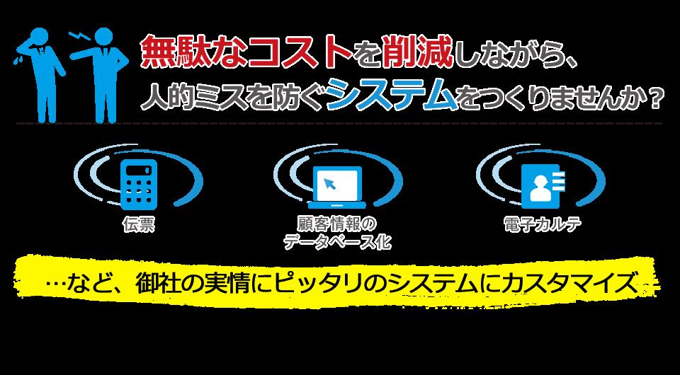 無駄なコストを削減しながら、人的ミスを防ぐシステムをつくりませんか?伝票、顧客情報のデータベース化、電子カルテ…など、御社の実情にピッタリのシステムにカスタマイズ(株)リアルワークスは、FileMaker(R)の熊本県での唯一のパートナー企業です。